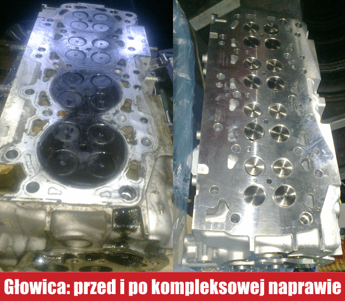 Głowica przed i po naprawie